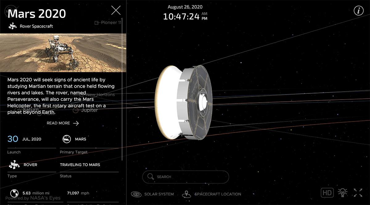 Screenshot della mission timeline della missione Mars 2020