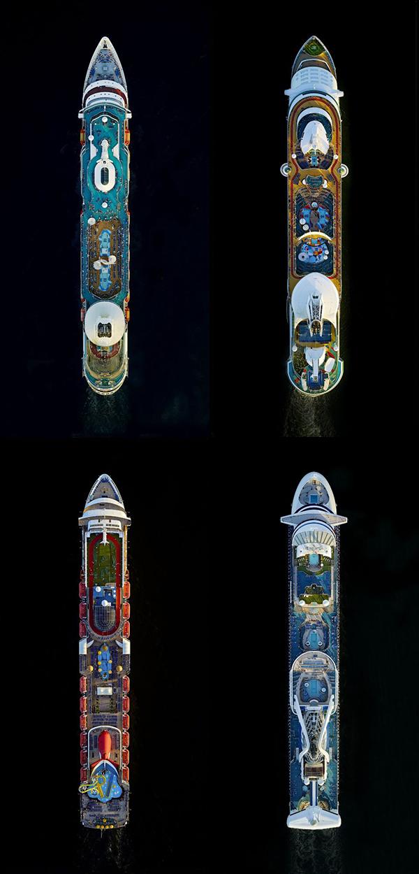 Navi da crociera viste dall'alto