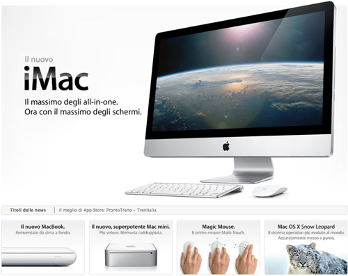 Screenshot dei nuovi iMac, MacBook e Magic Mouse di Apple