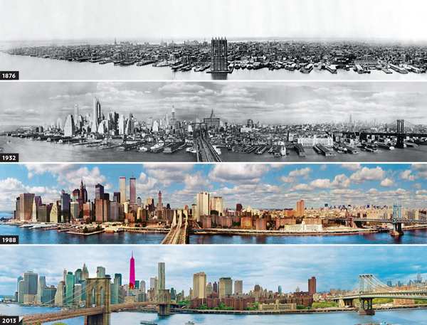 Lo skyline di New York dal 1876 al 2013