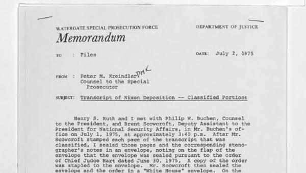 Screenshot del memorandum di Nixon sul Watergate