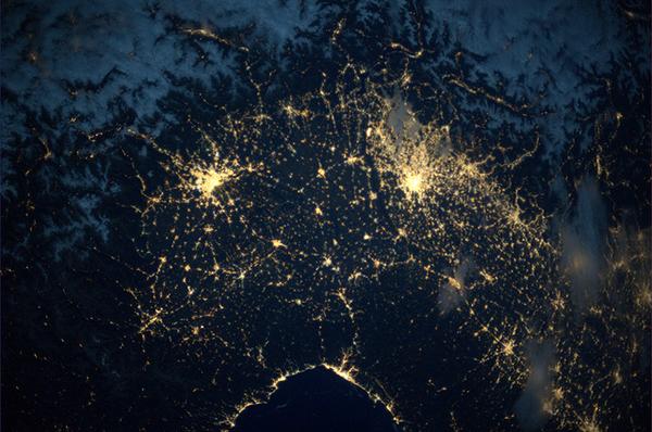 Il nord Italia visto dallo spazio