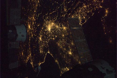 L'Italia del nord fotografata da Nespoli in orbita sulla ISS