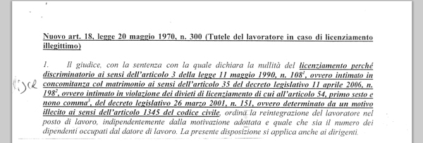 Il nuovo articolo 18