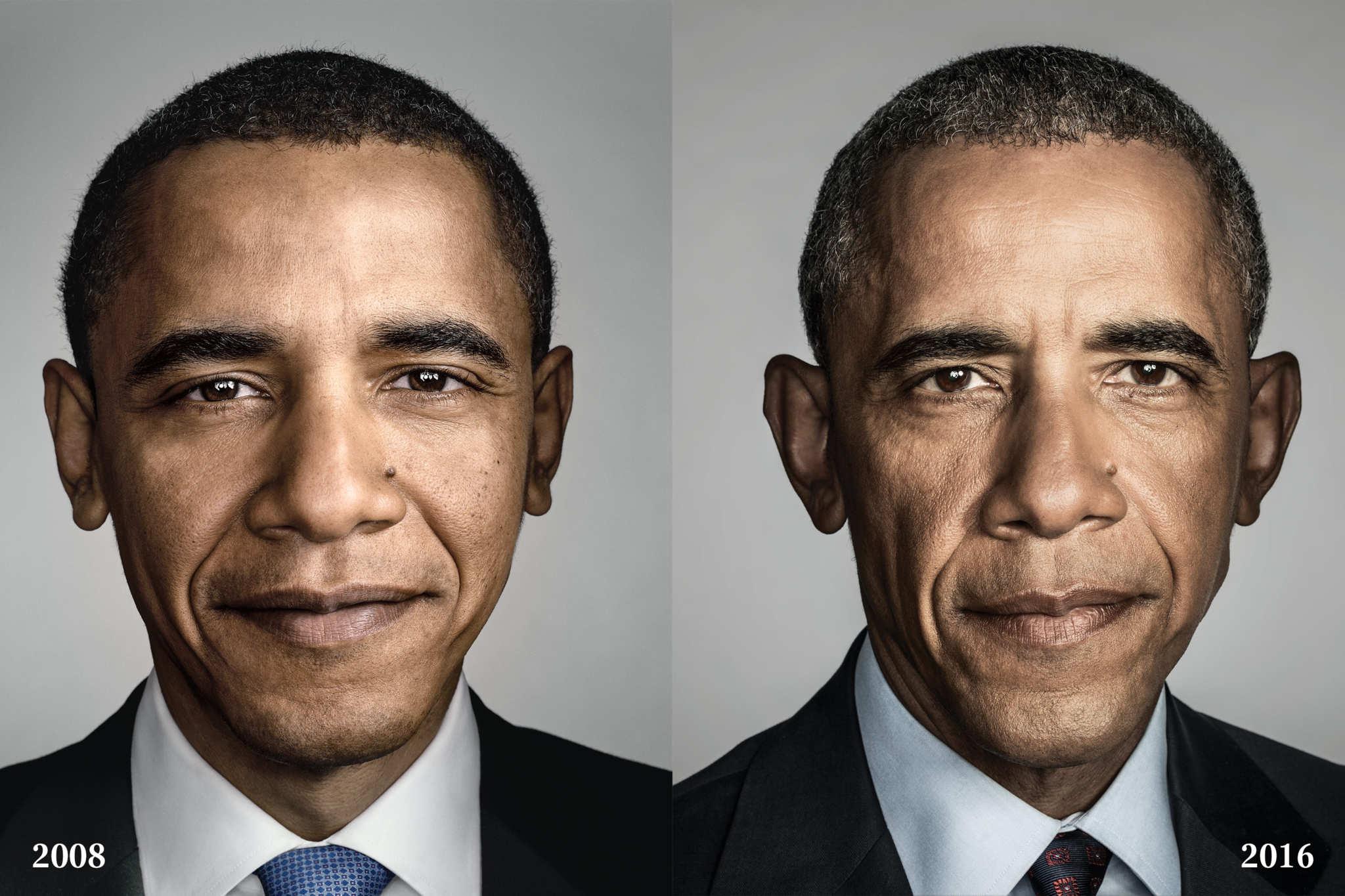 Barack Obama nel 2008 e nel 2016