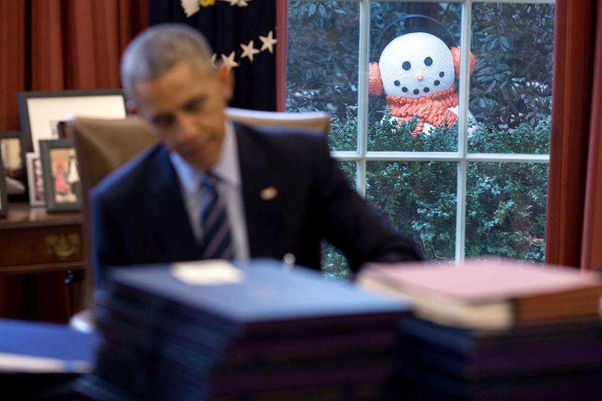 Obama e un pupazzo di neve