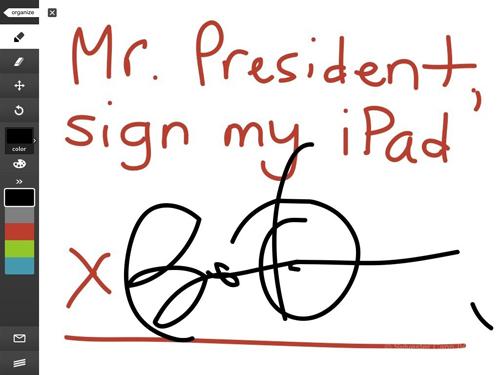 L'autografo di Obama su un iPad