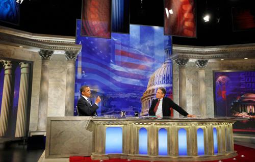 Il presidente Barack Obama ospite di Jon Stewart al Daily Show
