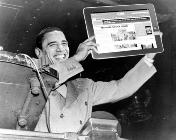 Il fotomontaggio alla Truman di Obama e la riforma sanitaria