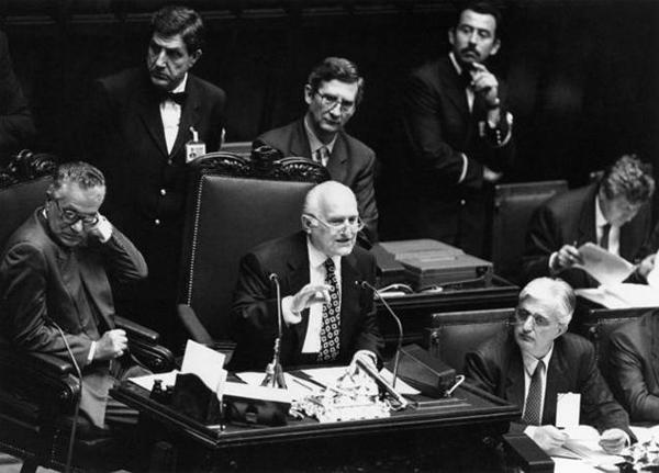 Oscar Luigi Scalfaro alla Camera dei Deputati