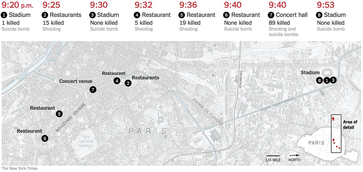 Mappa degli attentati terroristici a Parigi