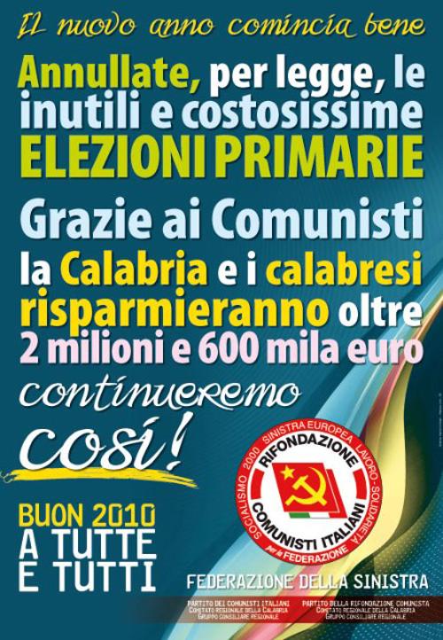 La locandina di Rifondazione Comunista
