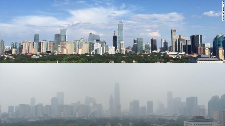 Pechino senza smog e con prima e dopo una parata militare
