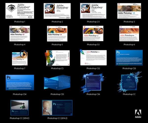 Gli splash screen di Photoshop negli ultimi 24 anni