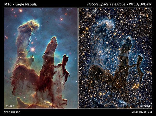 Due foto dei Pilastri della Creazione a confronto