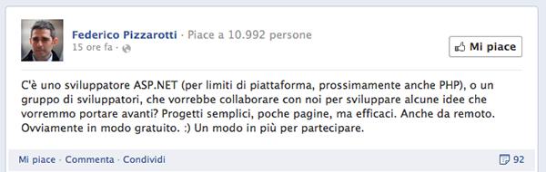 Screenshot di Facebook della pagina di Pizzarotti
