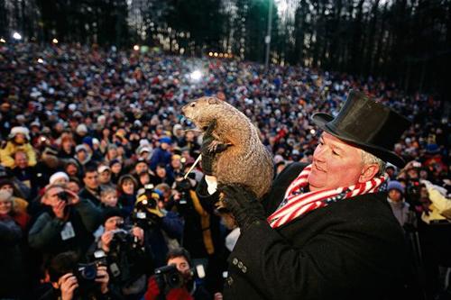 Punxsutawney Phil al Gobbler's Knob durante il Giorno della Marmotta