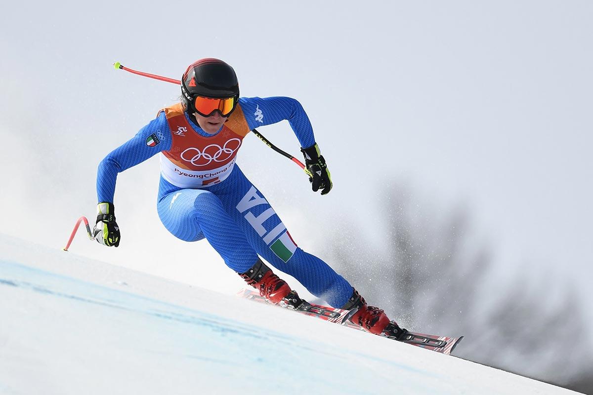 Sofia Goggi impegnata nella discesa libera a PyeongChang 2018