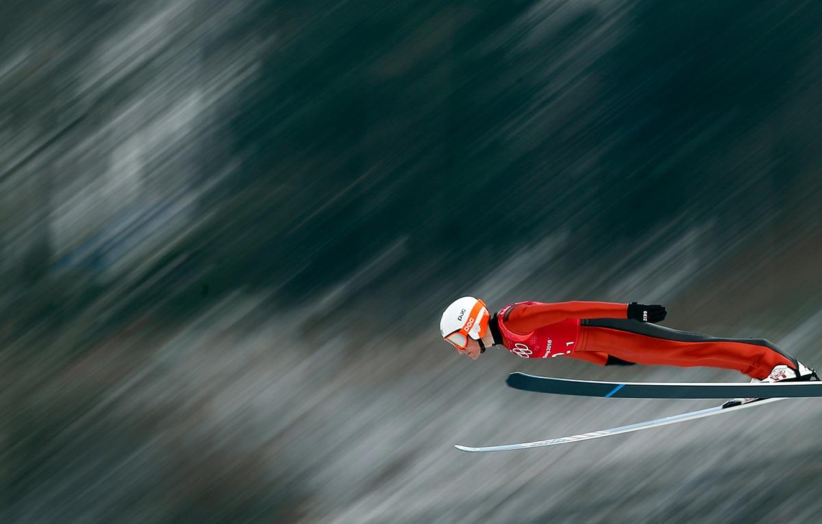 Ben Loomis impegnato nel salto con gli sci a PyeongChang 2018