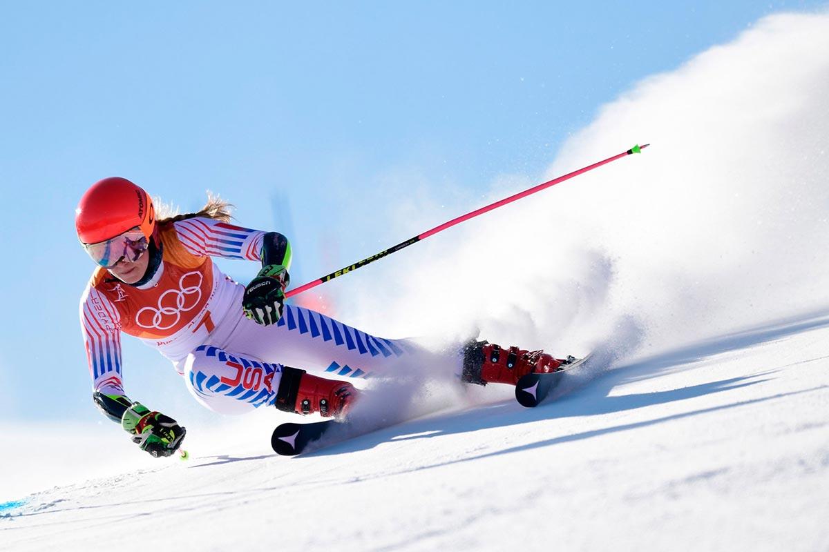Mikaela Shiffrin durante lo slalom speciale a PyeongChang 2018