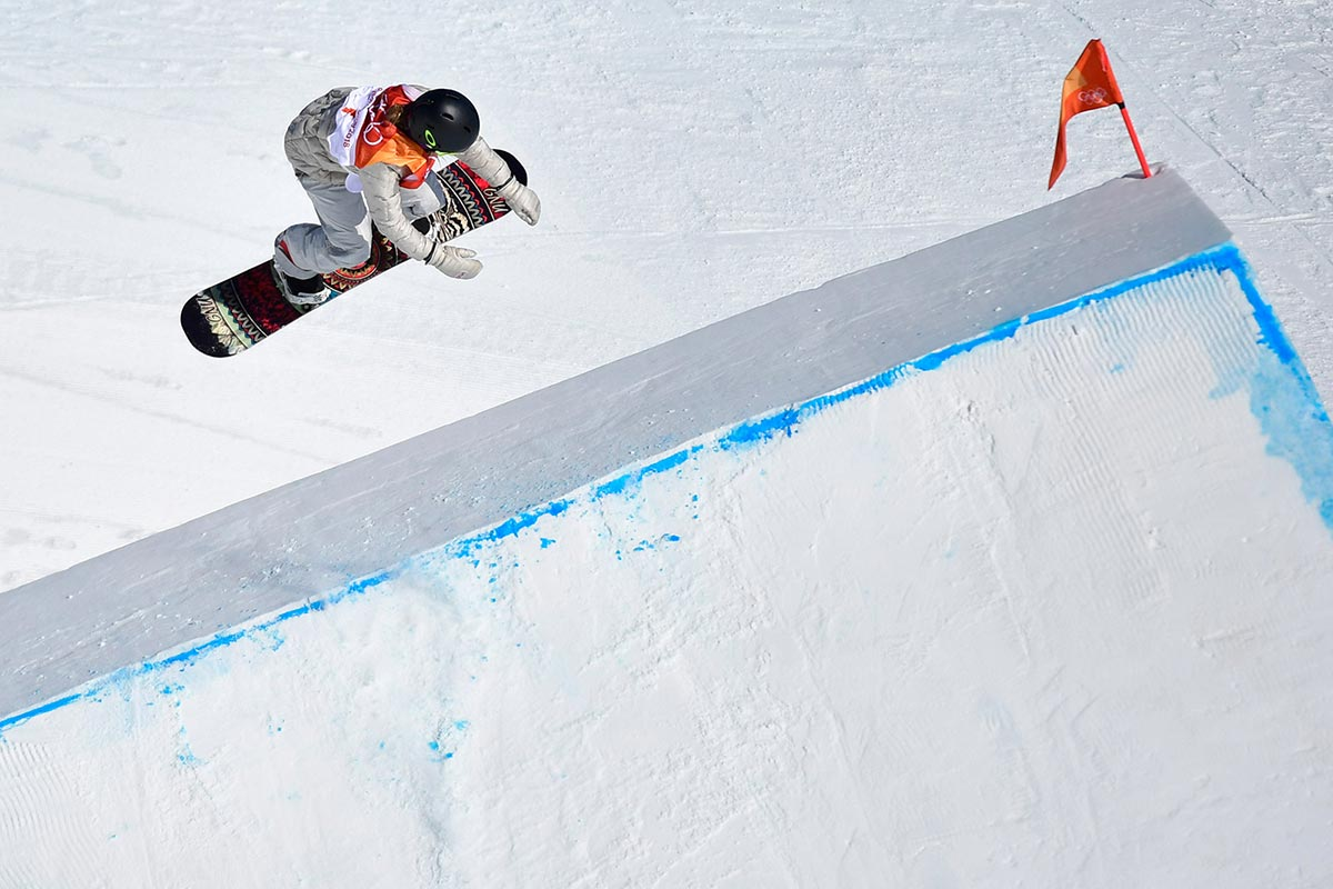Jamie Anderson impegnata nello slopestyle a PyeongChang 2018