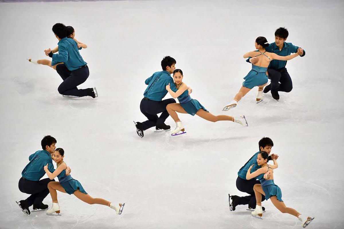 Un'esposizione multipla durante il pattinaggio di figura degli atleti Miu Suzaki e Ryuichi Kihara a PyeongChang 2018