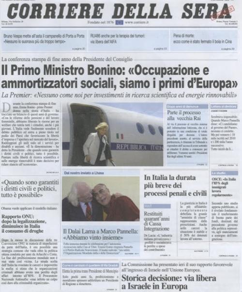 Ipotetica pagina del Corriere della Sera del 2015