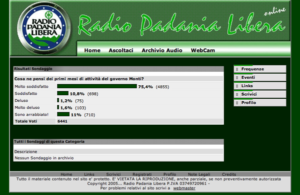 Screenshot di Radio Padania