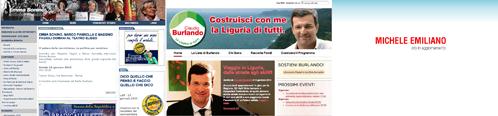 Screenshot dei siti di Bonino, Burlando e Emiliano
