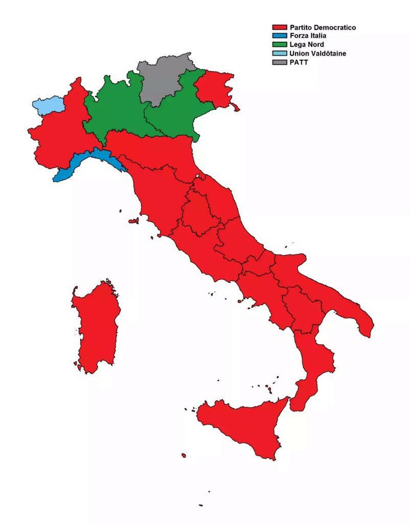 Le regioni vinte dal Partito Democratico 2105