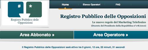 Screenshot del Registro delle Opposizioni