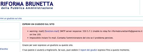 Messaggi di errore sul sito della riforma Brunetta