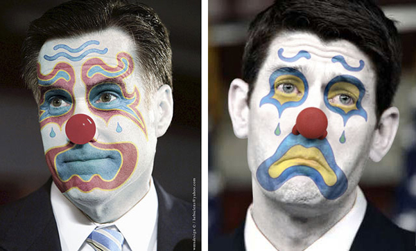 Romney e Ryan truccati da clown