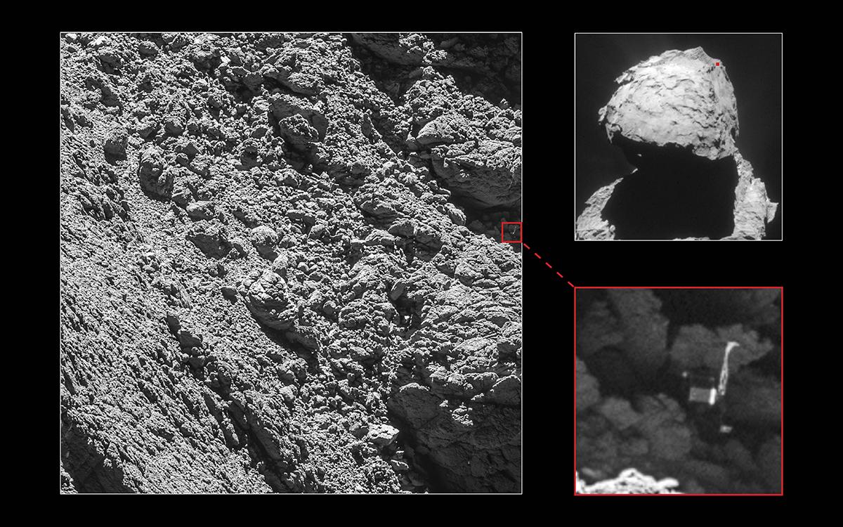 Il lander Philae sulla superficie della cometa 67P Churyumov-Gerasimenko