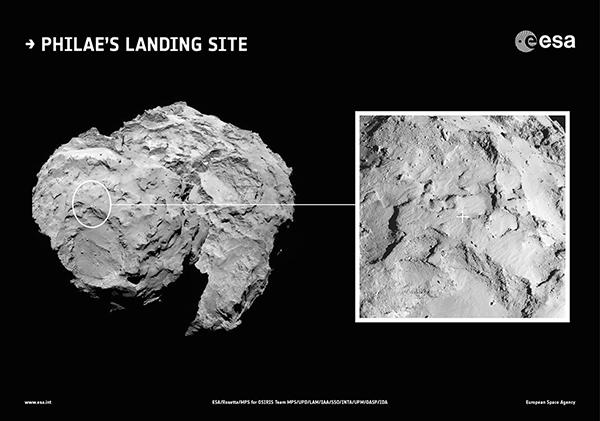 Il sito di atterraggio del lander Philae sulla cometa 67P/Churyumov-Gerasimenko