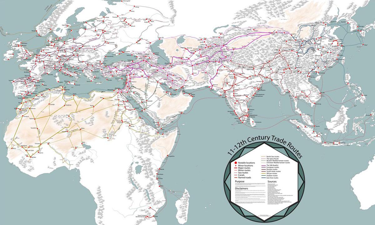 La mappa delle rotte commerciali medievali