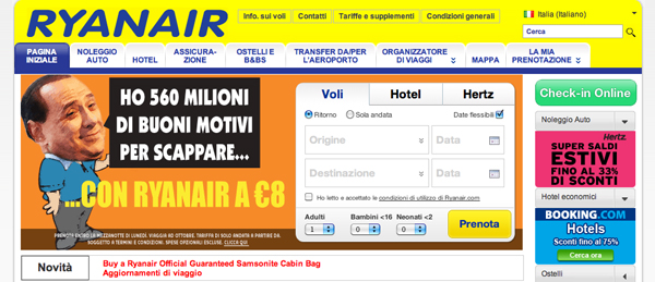 Screenshot di Ryanair