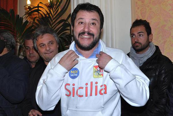 Salvini, Lega Nord, a caccia di voti in Sicilia