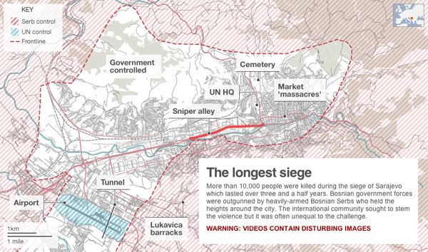 La mappa dell'assedio di Sarajevo
