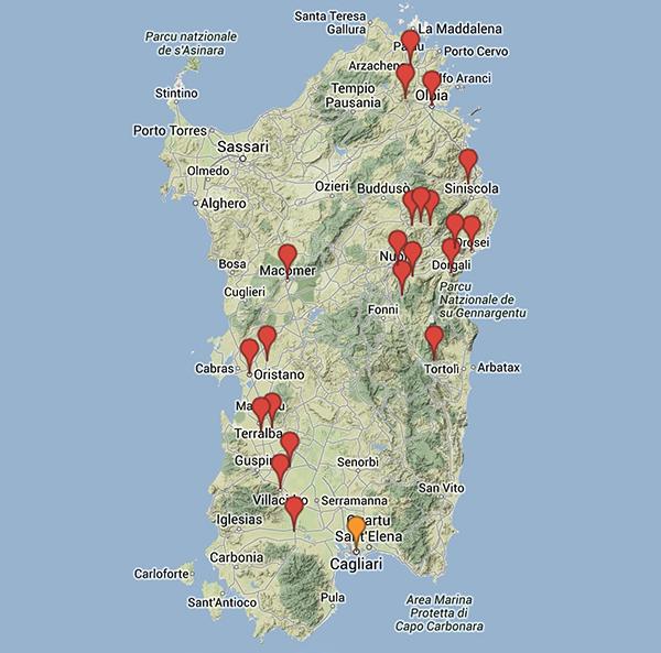 La Sardegna alluvionata in una mappa