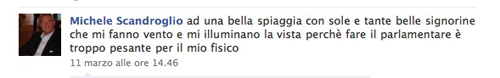 Lo status su Facebook dell'onorevole Scandroglio