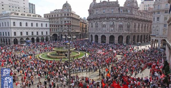 Manifestanti CGIL a Genova