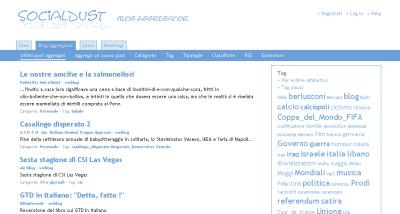 Dettaglio di una pagina di SocialDust Blog Aggregator