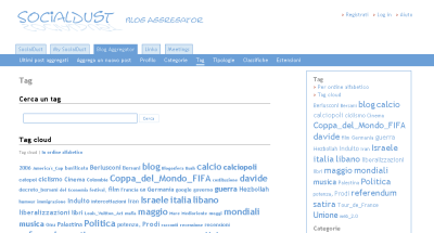 Tag cloud su SocialDust Blog Aggregator