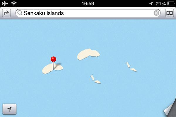 Le isole Senkaku sulle mappe di Apple