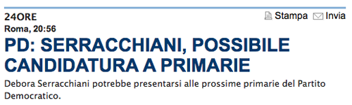 L'articolo su La Repubblica: Debora Serracchiani potrebbe presentarsi alle prossime primarie del Partito Democratico.