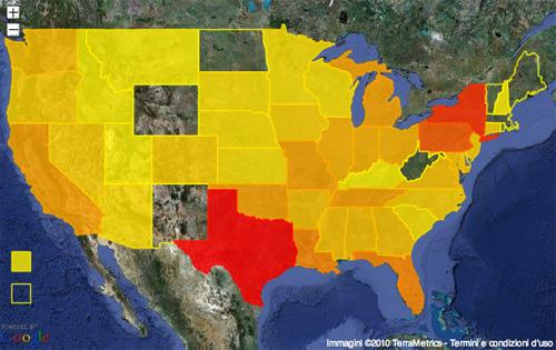 La mappa degli Stati Uniti con il dettaglio dei lobbisti