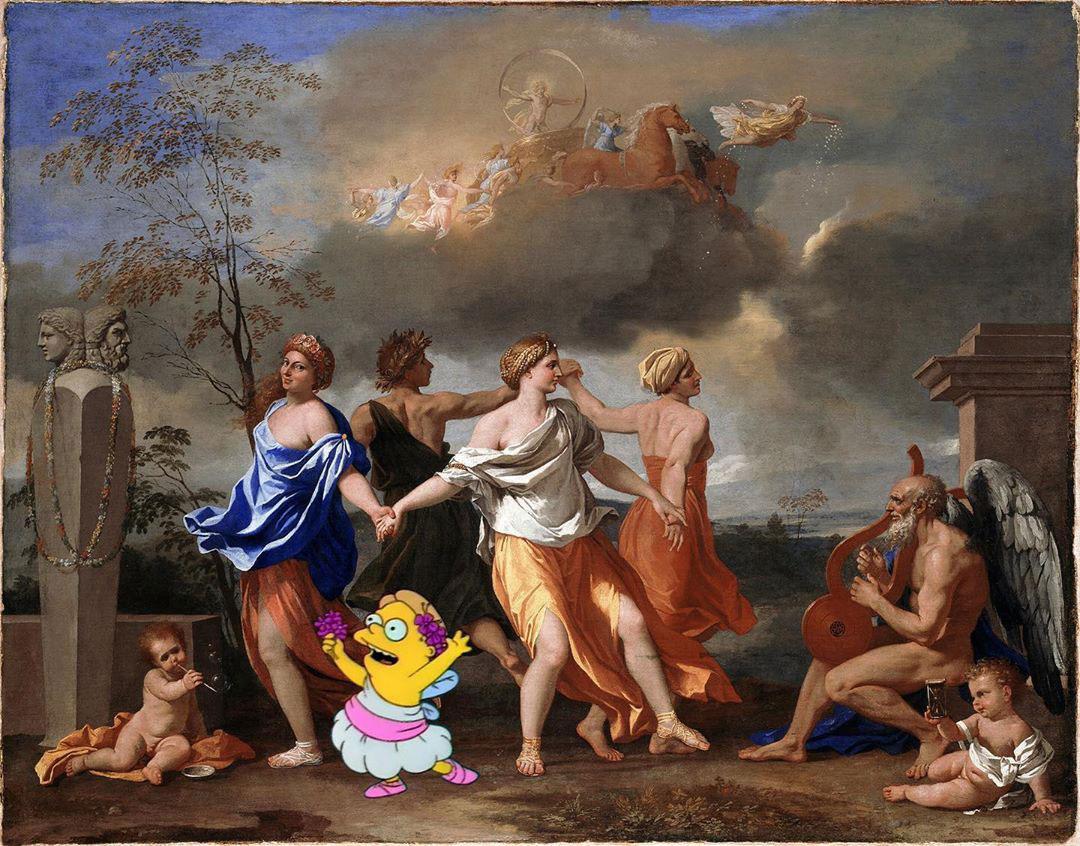 Fine Art Simpsons - Ballo alla musica del Tempo (Poussin)