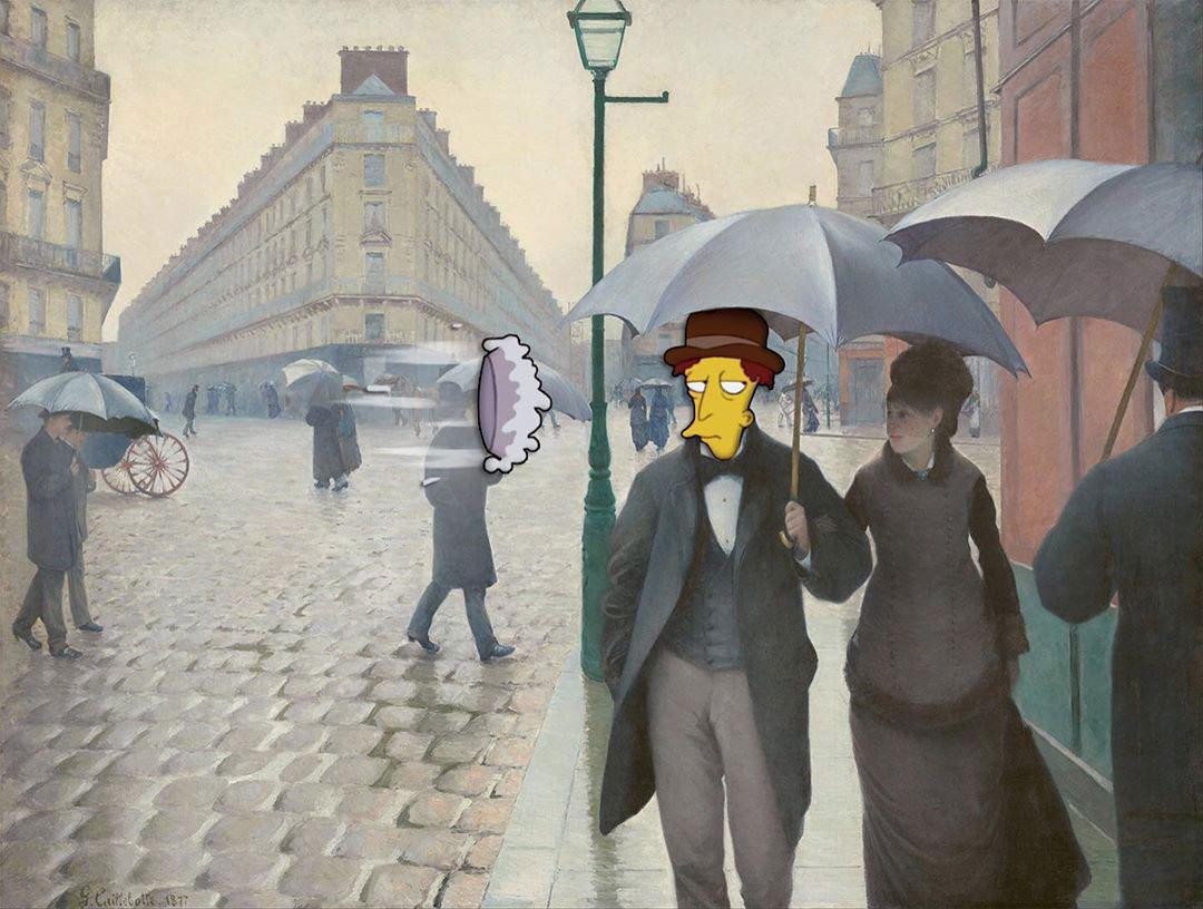 Fine Art Simpsons - Strada di Parigi in un giorno di pioggia (Caillebotte)
