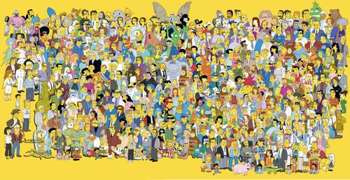 Il poster con tutti i personaggi della serie The Simpsons